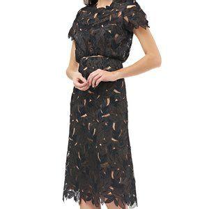 JS Collections Laser Cut Leaf Cocktail Dress
